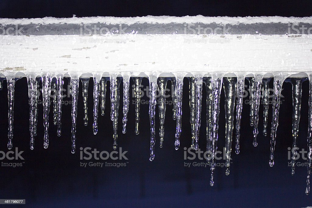 Icicles on a Porch stock photo