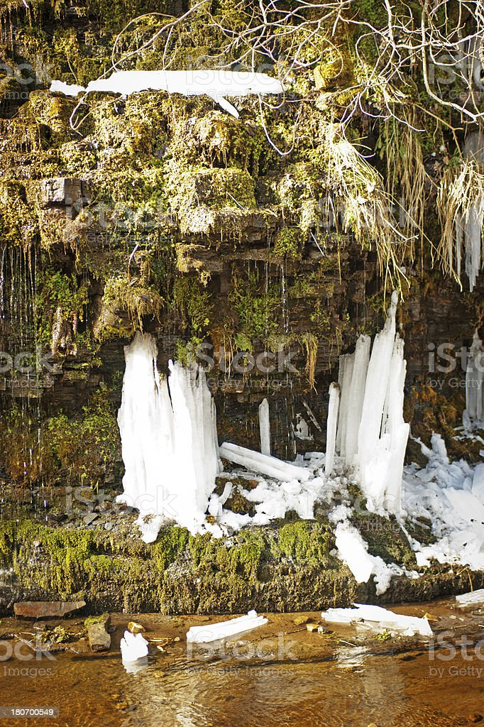 Icicles on a riverbank stock photo