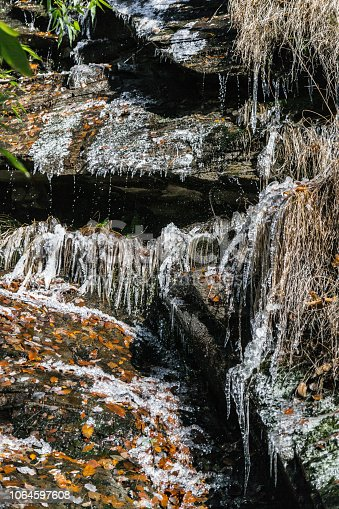 1141614053 istock photo Icicles on Forest Stream 1064597608
