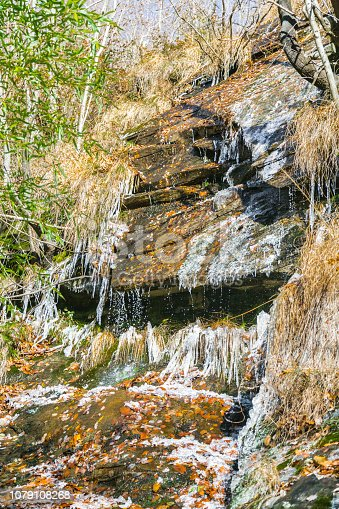 1141614053 istock photo Icicles on Forest Stream 1079108268