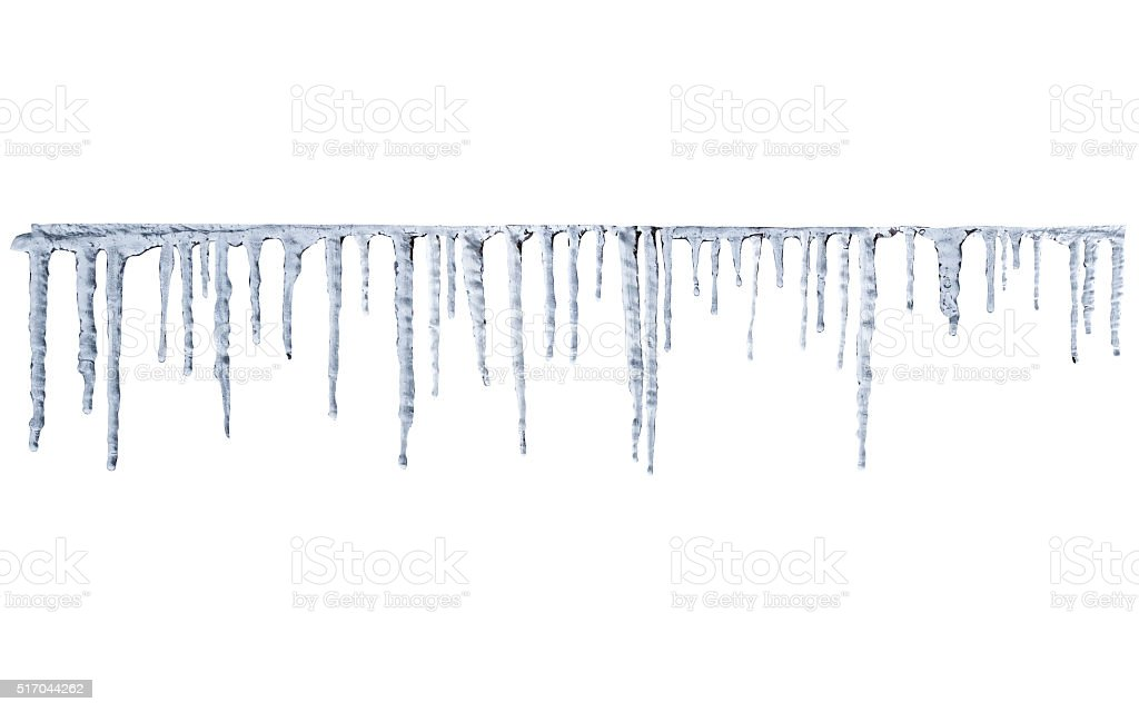 icicles on white background stock photo