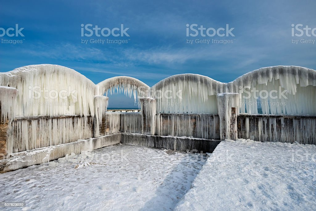 Icicles Over The Arches Of The Abandoned Swimming Pool Stock Photo Download Image Now Istock