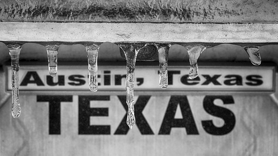 Winter storm in Texas. Sign