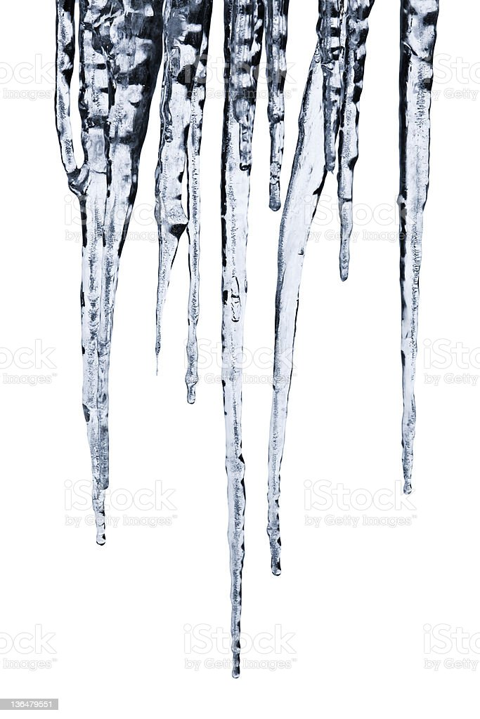 Icicles w/clipping path stock photo