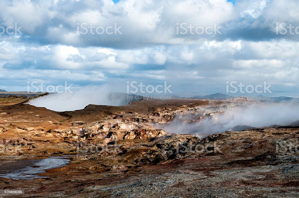 Iclandic geothermal landscape with steam filled crater stock photo