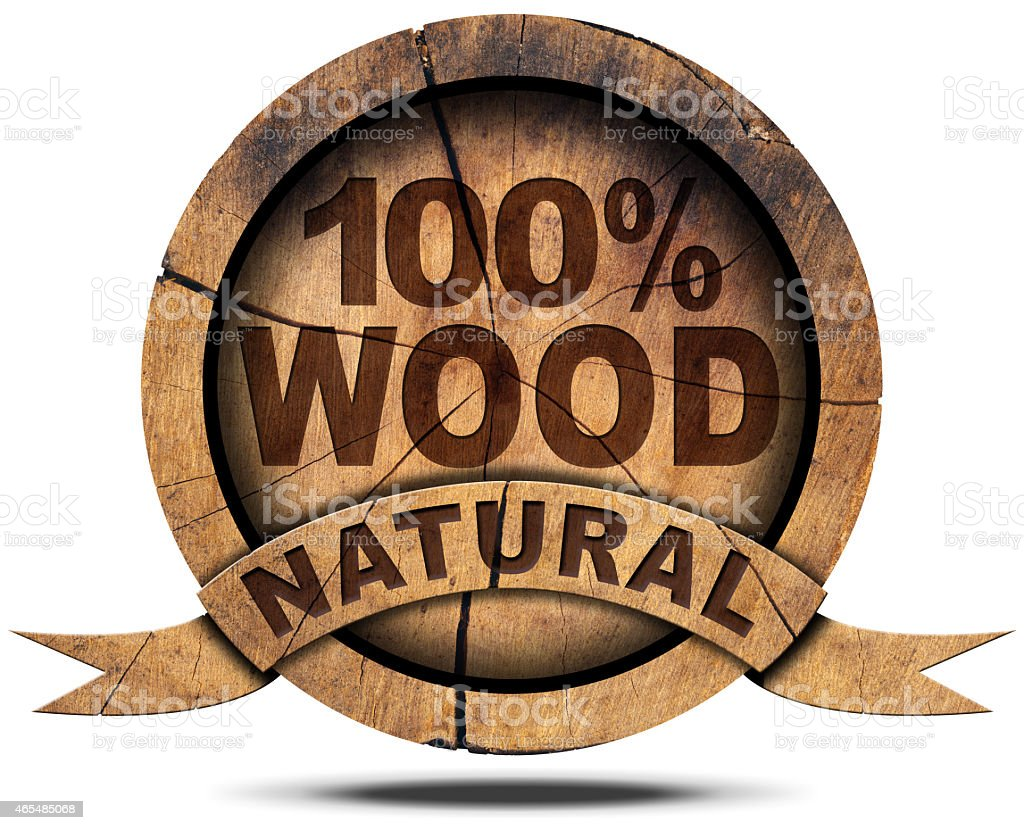 Icon 100 Percent Natural Wood stock photo