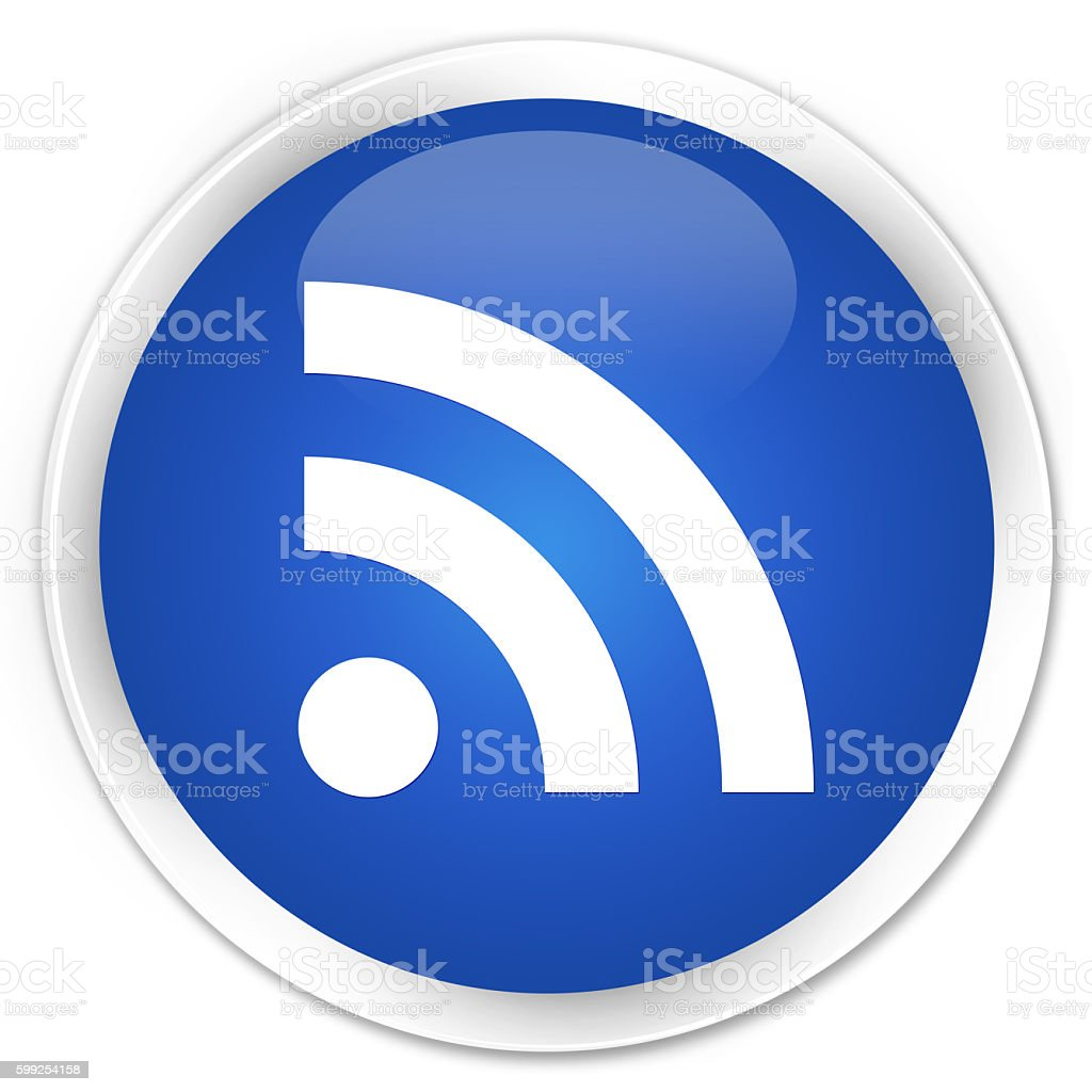 RSS icon blue glossy round button stock photo