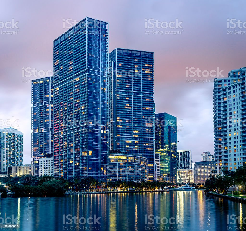 Icon Brickell from Miami City Channels at Night stock photo
