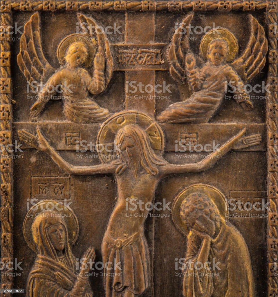Icon bronze plaster stock photo