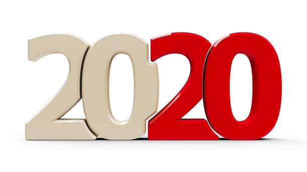 2020 icon compact red stock photo