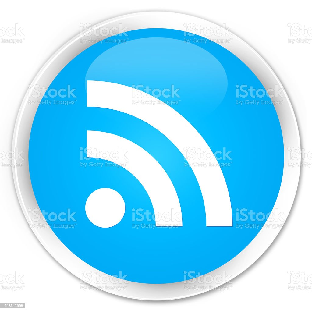RSS icon cyan blue glossy round button stock photo