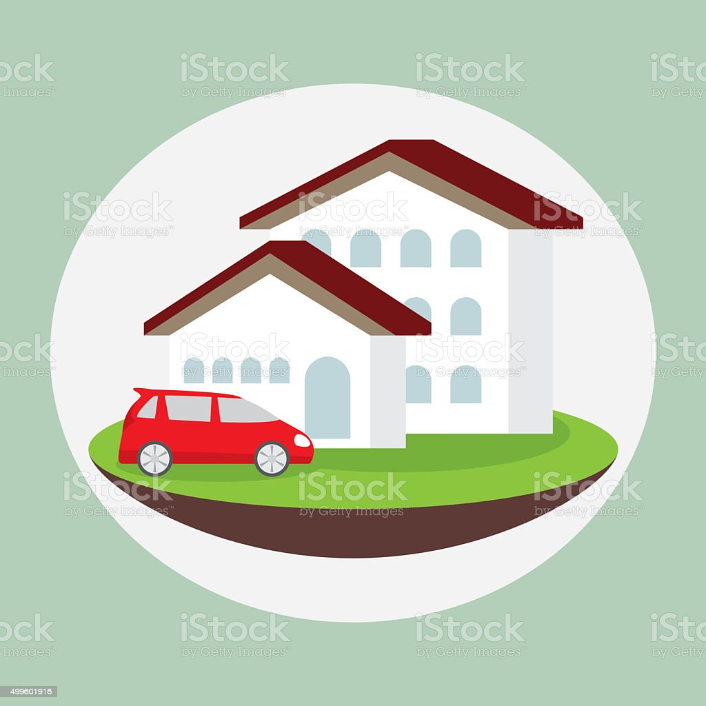 icon dream luxury house and car, business concept stock photo