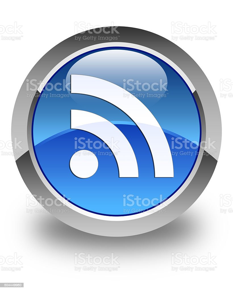 RSS icon glossy blue round button stock photo