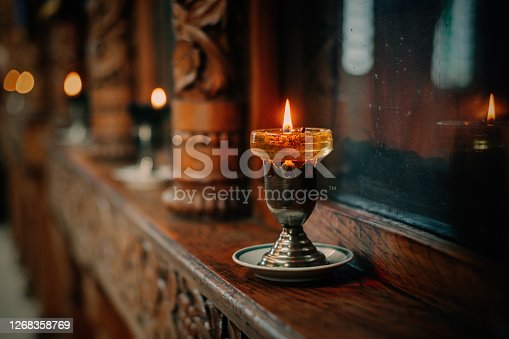 Orthodox icon lamp. Church oil. Church attribute. Lampstand Church. Christianity and faith. Religious temple. Prayer and penance. Inside of the Church. Orthodoxy.