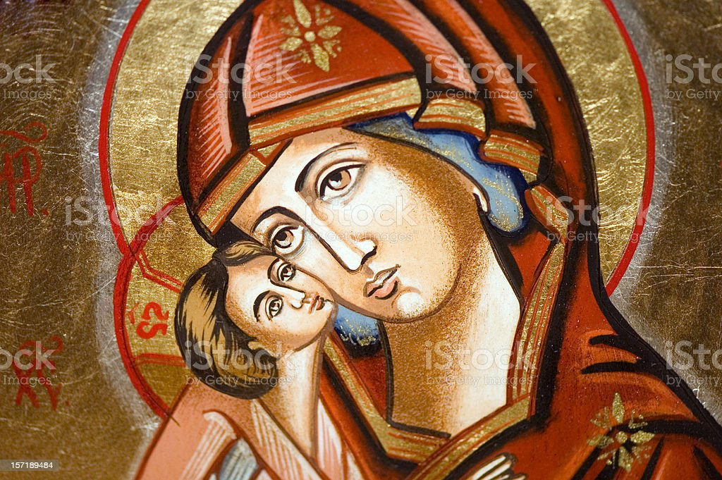 Icon - Madonna with child stock photo