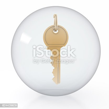 869781130 istock photo icon of gold key is in a transparent ball. 624426628
