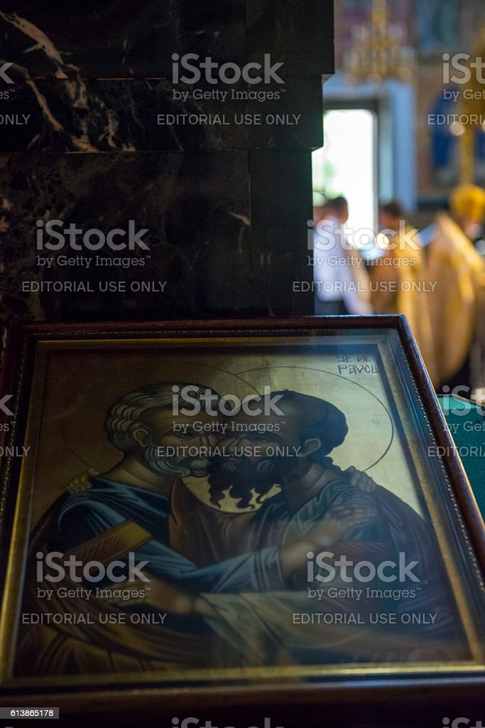 Icon of Peter and Paul embracing in Chisinau, Moldova stock photo
