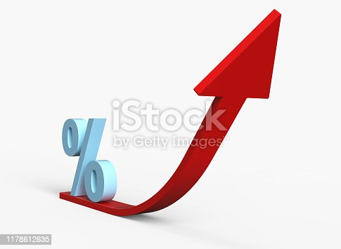 icon percentage symbol upward direction