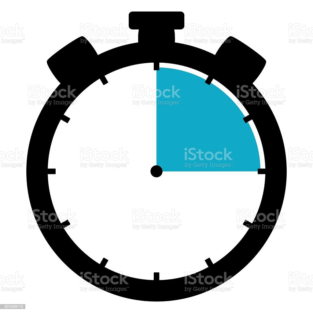Icon Stopwatch 15 Minutes 15 Seconds 3 hours stock photo