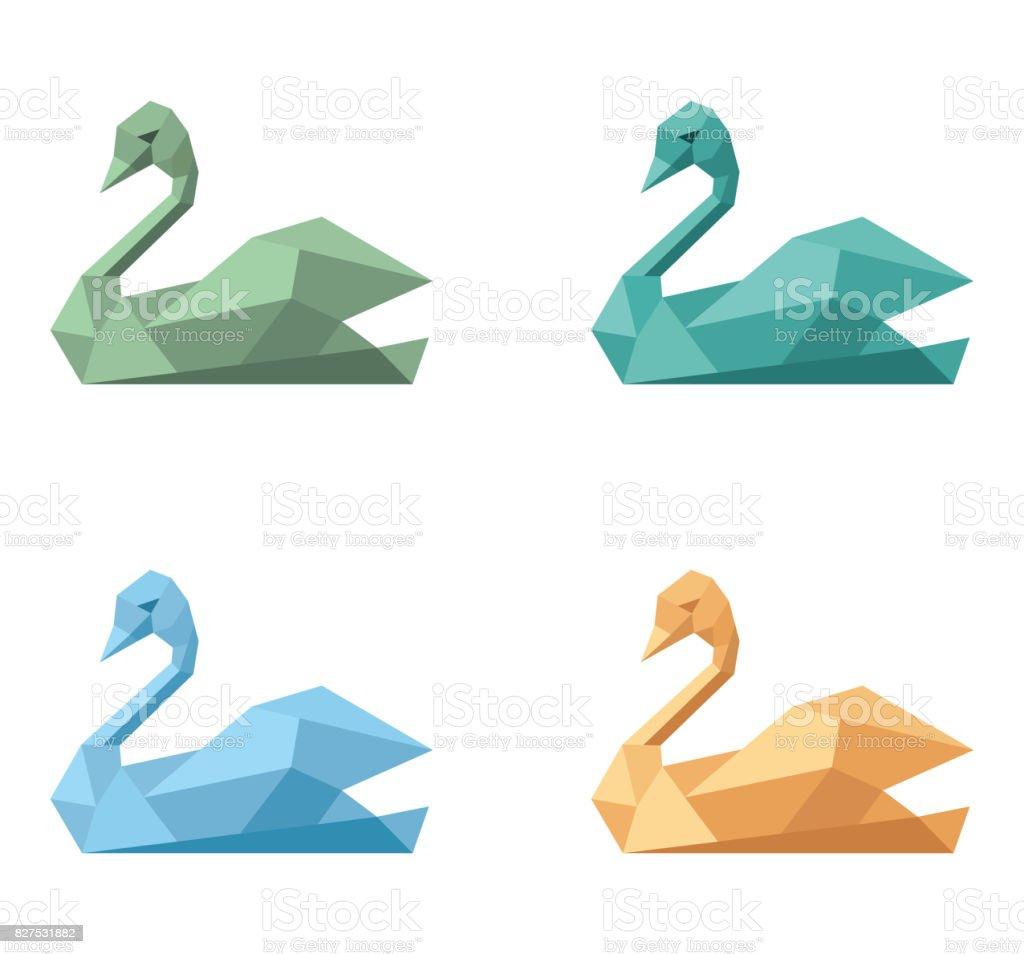 Icon symbol polygonal emblem swan - Royalty-free Animal Stock Photo
