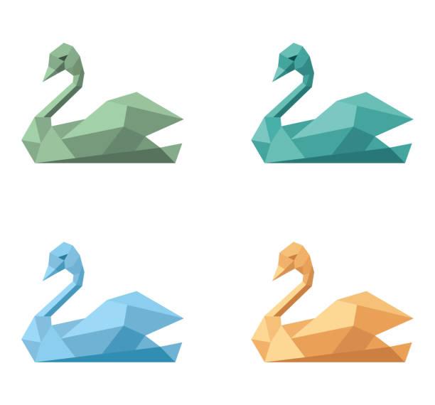 Icon symbol polygonal emblem swan stock photo