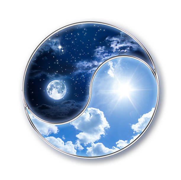 icon tao - moon and sun - yin yang symbol stock pictures, royalty-free photos & images