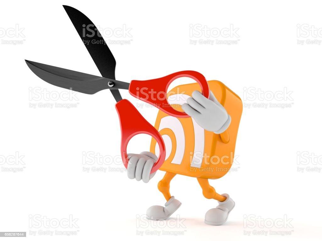 RSS icon toon with scissors stock photo
