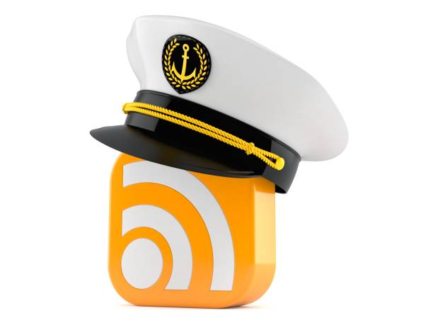 RSS icon with cptain hat RSS icon with captain hat isolated on white background sailor hat stock pictures, royalty-free photos & images