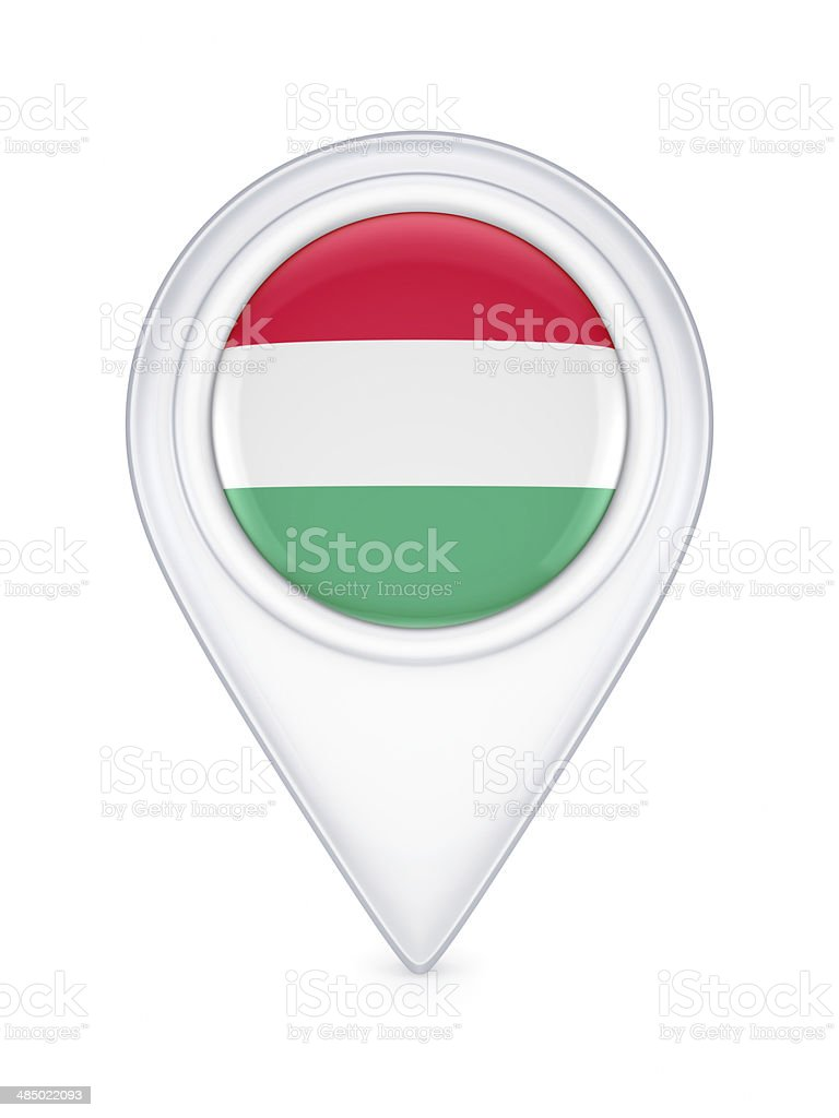 Icon with hungarian flag. stock photo