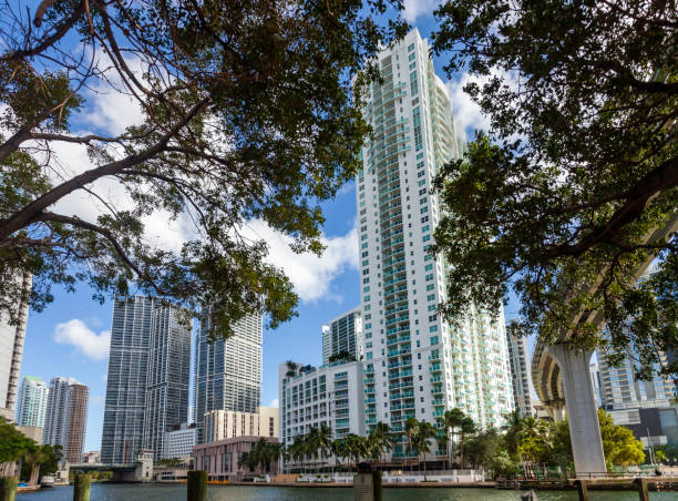 Iconic architecture is a hallmark of downtown Miami, Florida - shown here by the Miami River