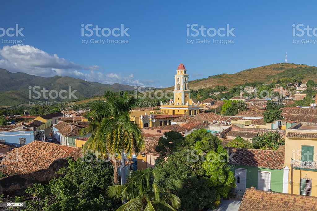 Iconic Belltower, red-tiled rooftops, Loma de la Vigia hill stock photo