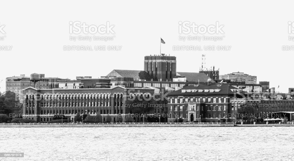Iconic Brick Buildings lining the Detroit River - Black and White stock photo