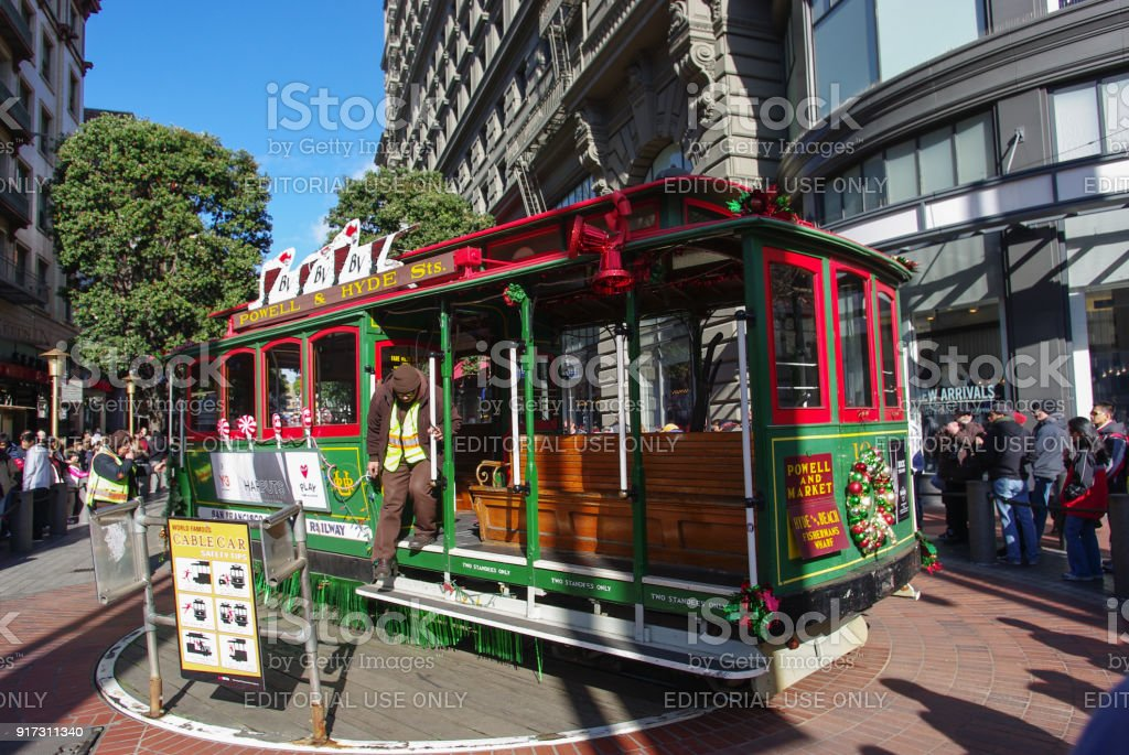 Iconic cable cars of San Francisco stock photo