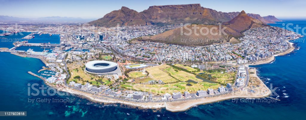 Iconic Cape Town Panorama Aerial View South Africa stock photo
