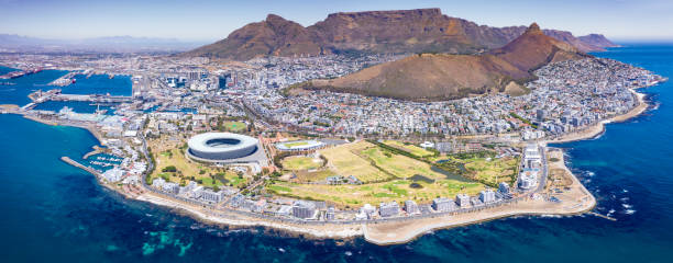 iconic cape town panorama aerial view south africa - cape peninsula stock pictures, royalty-free photos & images