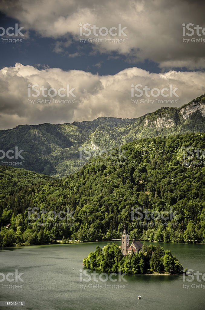 Iconic Church of Assumption on Lake Bled, Slovenia royalty-free stock photo
