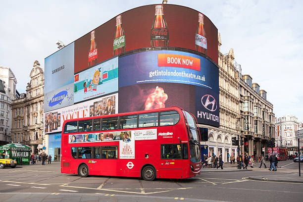 Iconic double-deck bus at Piccadilly Circus stock photo