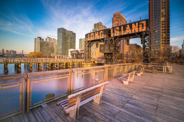 Iconic gantries of Gantry State Park and buildings stock photo