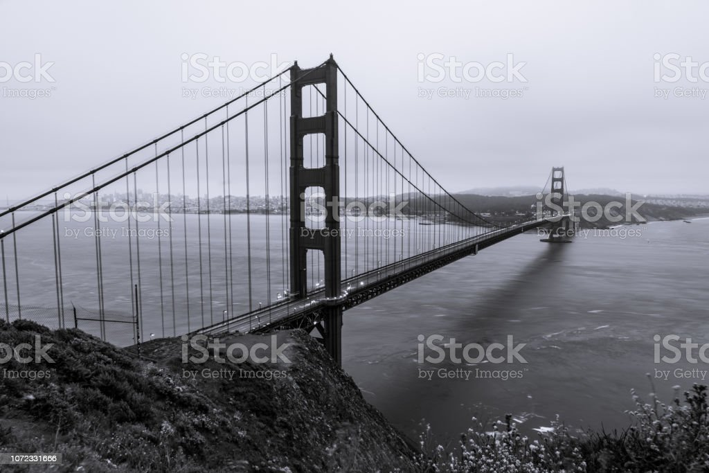 Iconic Golden Gate Bridge San Francisco California Black And