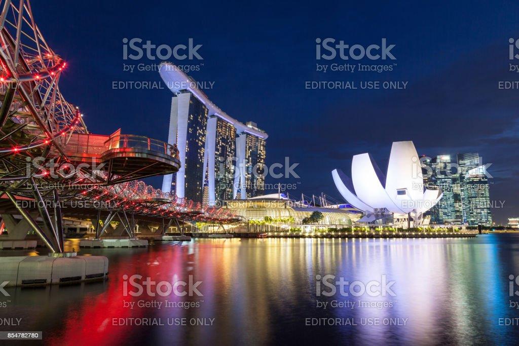 Iconic Helix Bridge Leads to Marina Bay Sands Singapore stock photo