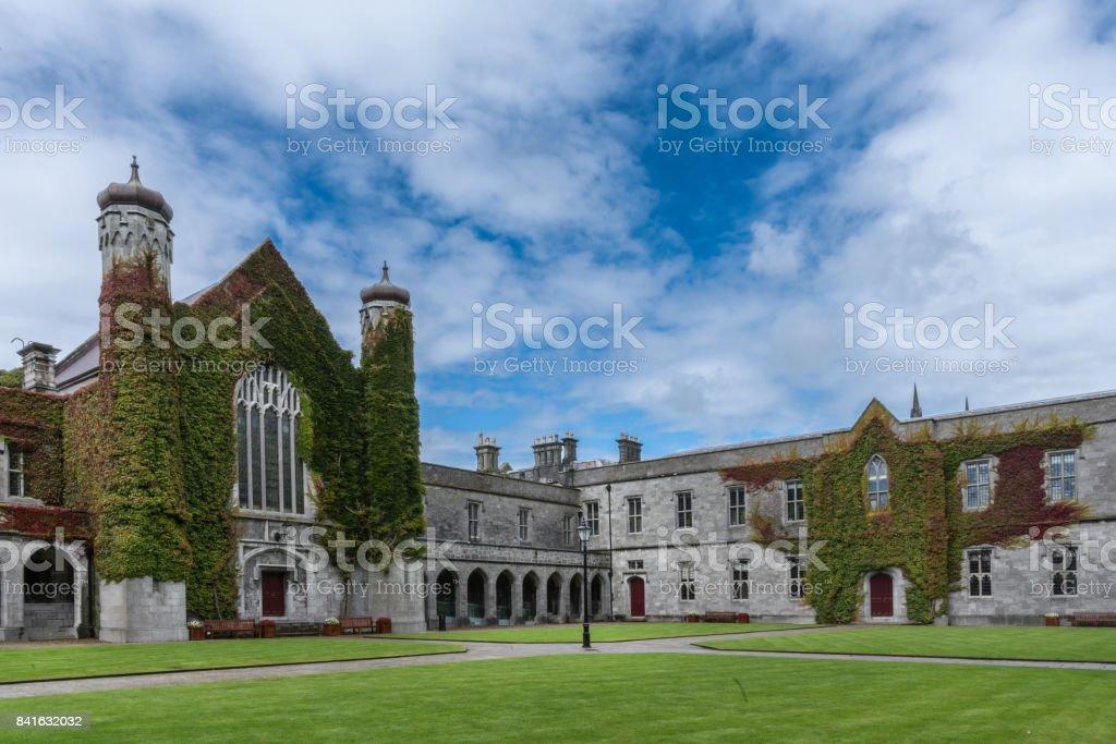 Iconic historic Quadrangle at NUI Galway, Ireland. stock photo