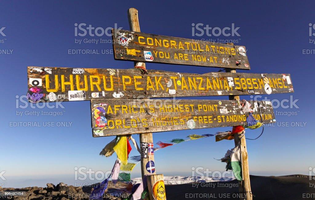 Iconic Kilimanjaro Summit Post stock photo