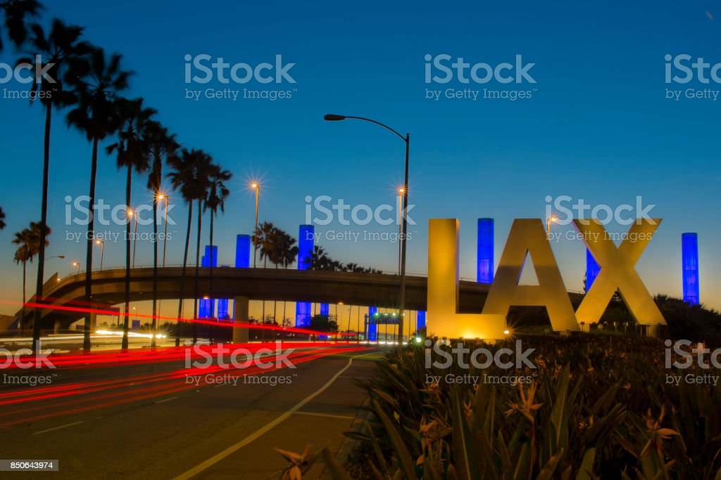 Iconic LAX Los Angeles International Airport Sign at Night stock photo
