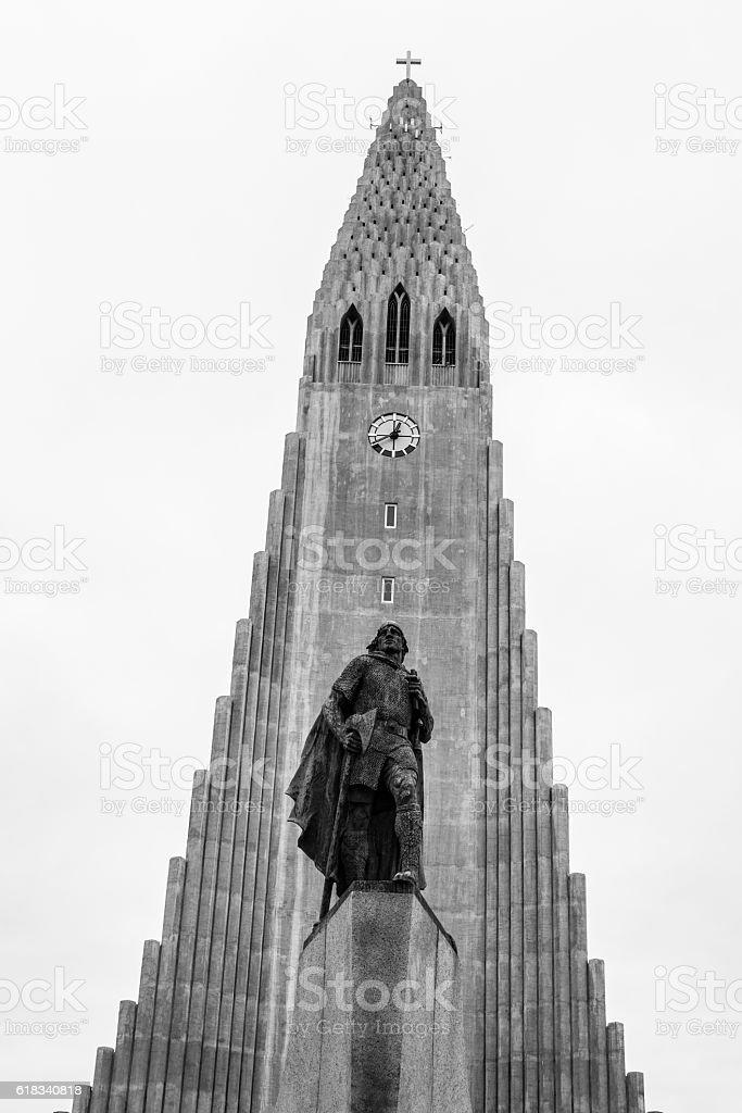 Iconic Lutheran Church in Reykjavik stock photo