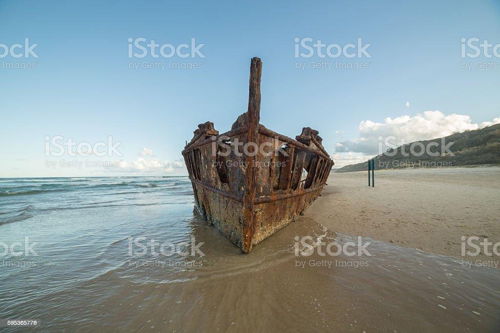 Iconic Maheno Shipwreck on Fraser Island stock photo