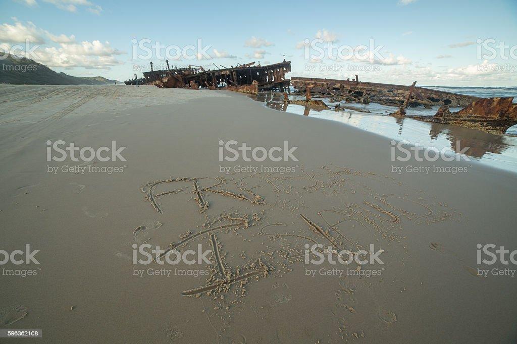 Iconic Maheno Shipwreck on Fraser Island royalty-free stock photo