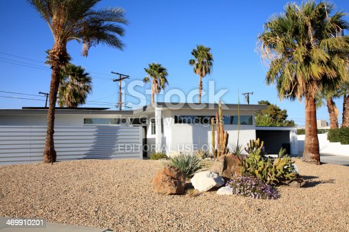 Palm Springs,United States- February 10,2014: Exterior view of Palm Springs California Home built in the Mid 20th Century.  These homes were built mostly from steel and glass. Palm Springs has the most Mid Century architecture in America.