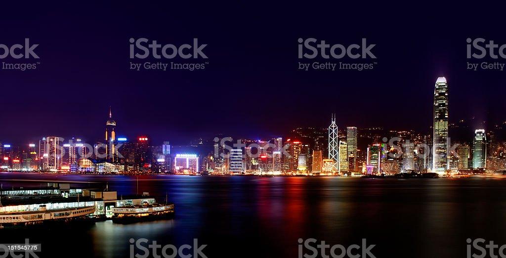 Iconic night scene of Hong Kong stock photo