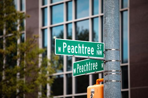 iconic Peachtree street sign in Atlanta