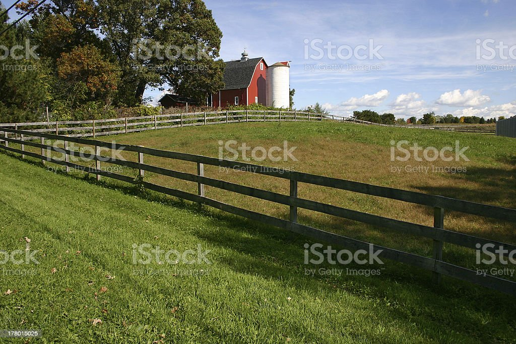 Iconic red barn and silo royalty-free stock photo